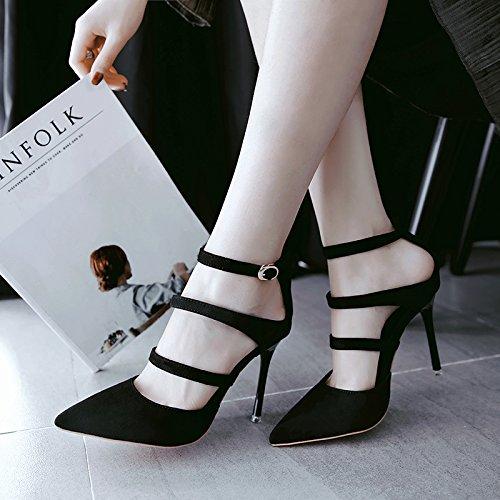 Femmes Creux Avec Le En Mélangé Baotou Heels Avec Chaussures Sangle EU34 High Fente SHOESHAOGE Sandales Pointe Femme Fine ORp1q1xw7a