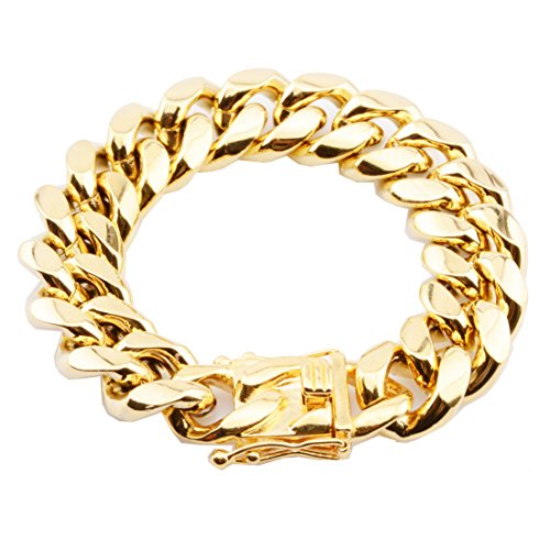 - FANS JEWELRY Mens Fashion Stainless Steel Gold Plated Miami Cuban Link Chain Necklace Bracelet 7-40 inch (18mm_7.5