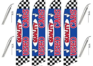 Four (4) Pack Swooper Flags & Pole Kits Quality Used Cars Red White Blue Race Check