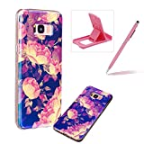 Silicone Case for Samsung Galaxy S8 Plus,Herzzer Luxury Ultra Slim Stylish Blue Light [Peony Pattern] Dual Layers Protection Soft TPU Bling Sparkle Glitter Protective Designer Case Cover for Samsung Galaxy S8 Plus + 1 x Free Pink Cellphone Kickstand + 1 x Free Pink Stylus Pen