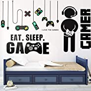 3 Sheets Game Wall Stickers Video Game Wall Decals, Vinyl Gaming Wall Stickers Eat Sleep Game Wall Decal for B