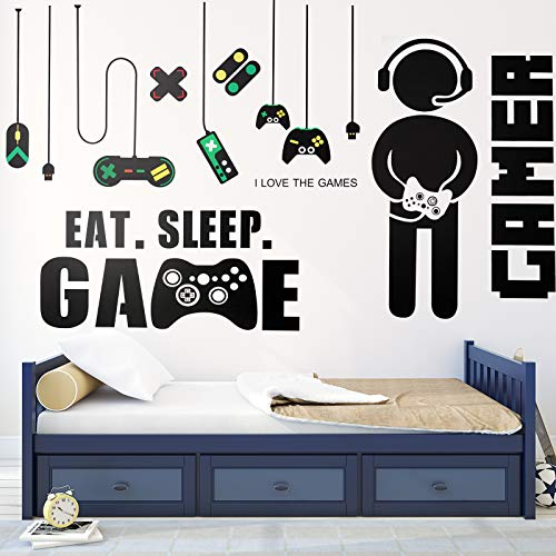 3 Sheets Game Wall Stickers Video Game Wall Decals, Vinyl Gaming Wall Stickers Eat Sleep Game Wall Decal for Boys Kids…