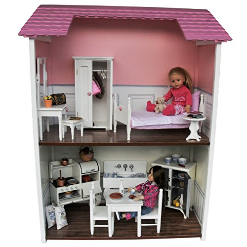 Exclusive Design Beautiful Quality 18 Inch 2 Story Doll House Sized for American Girl Dolls, Furniture And Accessories. Easily Folds For Storage And Can Be Used as A Bookcase Later! by The Queen's Treasures