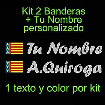 Coche Casco Vinilin Pegatina Vinilo Bandera Valencia etc Kit de Dos Vinilos tu Nombre Monopatin Pala De Padel Bici Verde