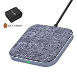 7.5W Fast Wireless Charger with QC3.0 Adapter Designed for iPhone X/ 8/ 8Plus, Qi 10W Fast Wireless Charging pad Fabric Surface Aluminum Alloy Shell for Samsung S9/ S9+/ S8/ S8+/ Note 8- Wefunix