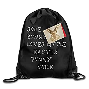 Some Bunny Loves Little Easter Bunny Smile Pattern Printed Bundle Mouth Single Pocket Takeoff Drawstring Backpack