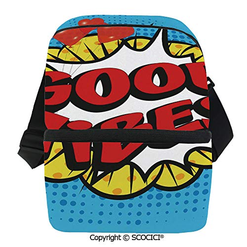 SCOCICI Reusable Insulated Grocery Bags Pop Art Composition with Speech Bubble Retro Letters Heart Balloons Decorative Thermal Cooler Waterproof Zipper Closure Keeps Food Hot Or ()