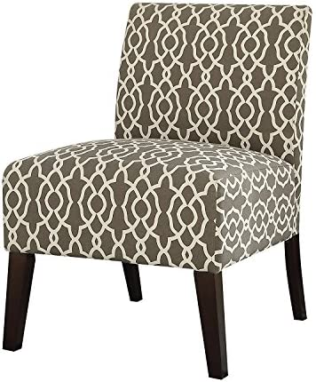 Major-Q Linen Slipper Accent Chair for Living Room Bedroom, Solid Pattern, Tight Back and Seat Cushion, Brown Pattern Finish with Wooden Tapered Leg 27 x 34 x 24