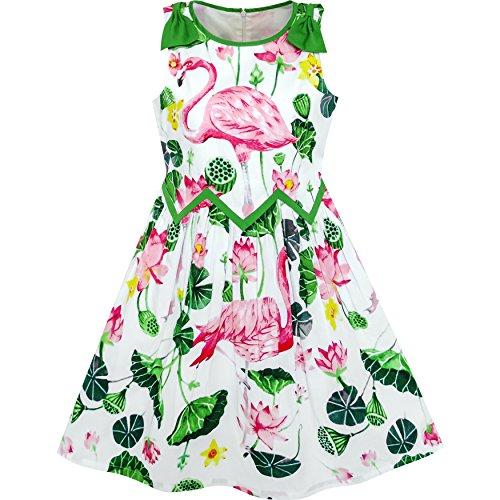LG73 Girls Dress Flamingos Lotus Print Wave Waist Bow Tie Size (Lotus Girl)