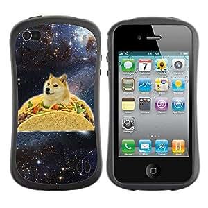 Hybrid Anti-Shock Bumper Case for Apple iPhone 4 4S / Taco Dog Meme