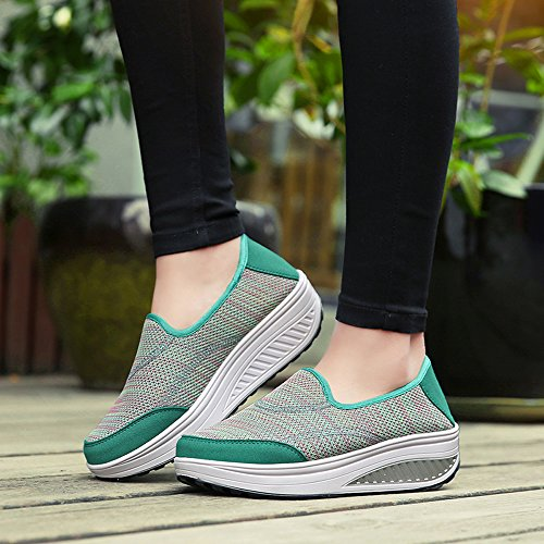 EnllerviiD Women Slip-On Platform Walking Shoes Shape UPS Fitness Toning Work Out Sneakers Green kqXcax0th