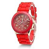 Estone Classic Womens Girls Geneva Silicone Jelly Gel Quartz Analog Sports Wrist Watch (Red)