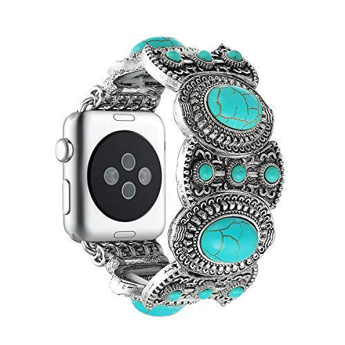 - Solomo Compatible for Apple Watch Band 42MM 44MM, Fashion Iwatch Strap in Bohemian Ethnic Antique Style with Turquoise Handmade Elastic Stretch Women Girls Like for iWatch Series 4/3/2/1 (Turquoise)