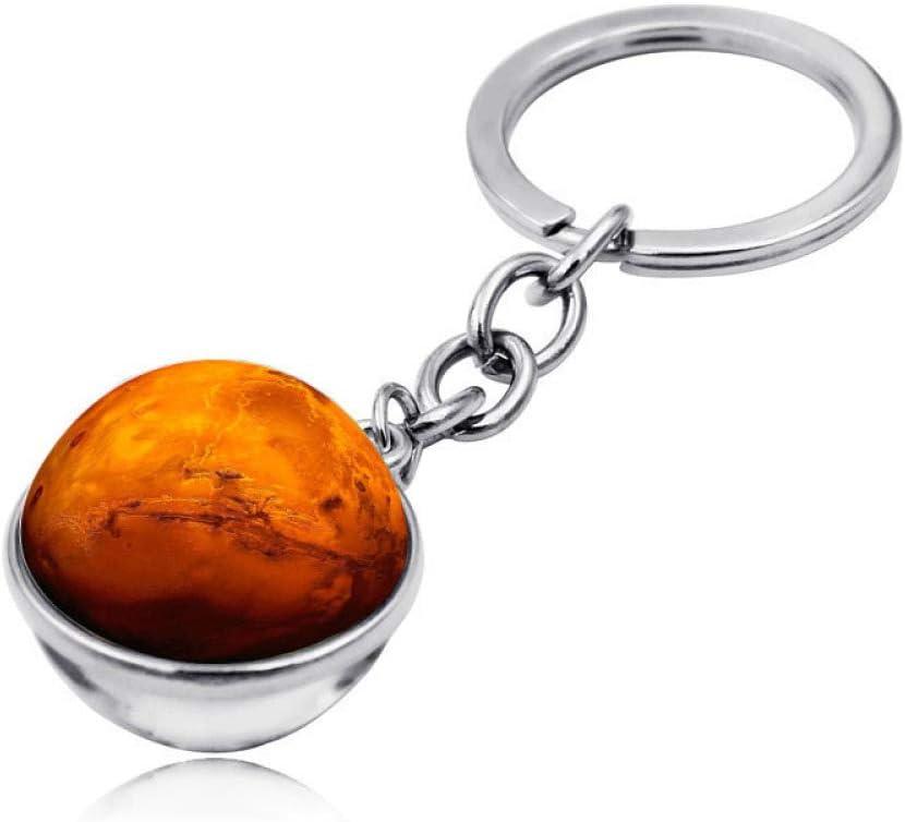 Keychain - Llavero Universal con diseño de Galaxia, Esfera de Cristal a Ambos Lados, Colgante con Piedras Preciosas