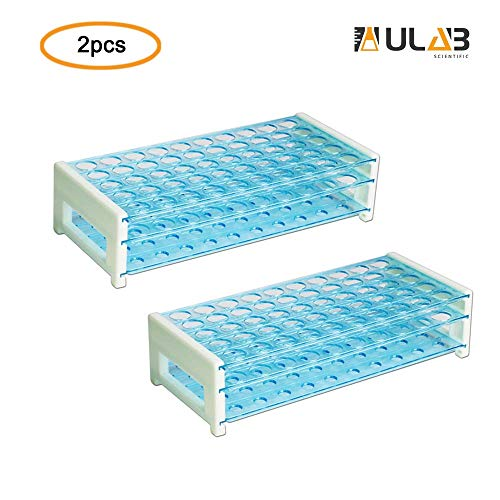 ULAB Scientific Detachable Test Tube Rack for Tubes of Dia.≤17mm, 50 Holes, PS Material, Pack of 2, UTR1006 ()