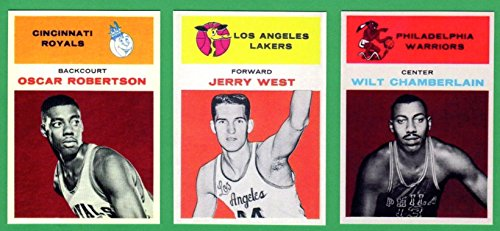 (Wilt Chamberlian, Jerry West, Oscar Robertson 1961-62 Fleer Basketball Rookie Reprint (3) Card Lot (Lakers) (Warriors) (Royals) )