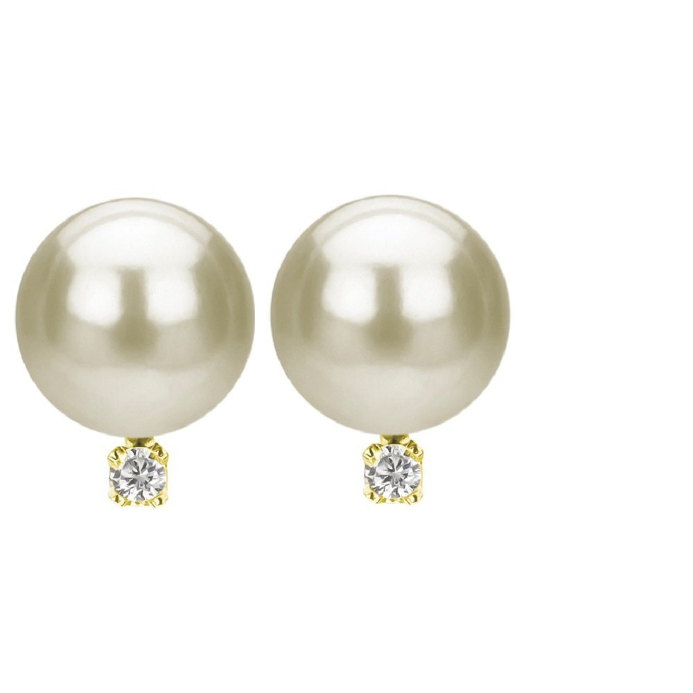 Freshwater Cultured White Pearl Diamond Earrings 14K Yellow Gold Studs Birthday Gift 1/50 CTTW 7-7.5mm by La Regis Jewelry (Image #3)