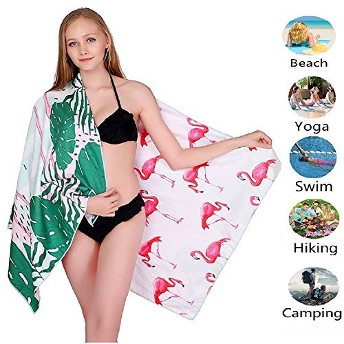 ponyprincess Microfiber Sand Free Beach Towel Blanket-Quick Fast Dry Super Absorbent Lightweight Thin Towel for Travel Pool Swimming Bath Camping Yoga Gym Sports Idea Flamingos