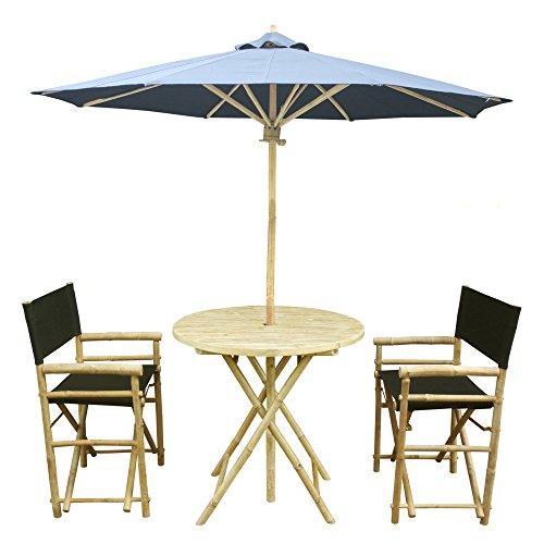 Zew 4-Piece Bamboo Outdoor Bistro Patio Set with Round Table, 2 Comfortable Canvas Chairs and Umbrella, Black For Sale