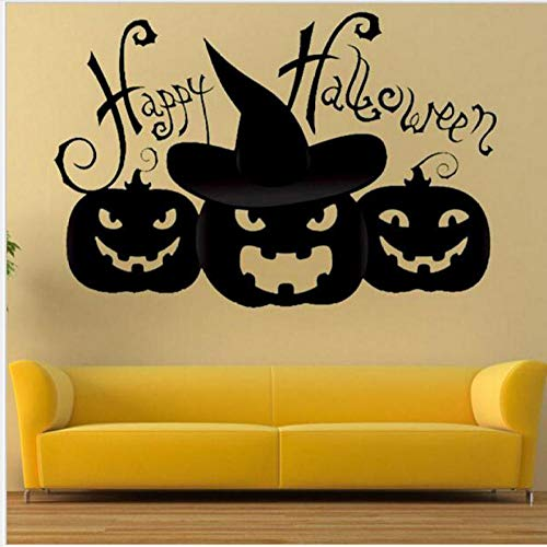 xiaomeihao Happy Halloween Wall Sticker Simple Black Series Cat Pumpkin Decorative Wall Sticker Home Living Room Bedroom Wall Stickers 58X45Cm]()