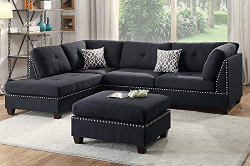 Poundex F6974 Bobkona Viola Linen-Like Polyfabric Left or Right Hand Chaise Sectional Set with Ottoman (Pack of 3), Black (Facing Right Chaise Sectional)