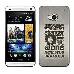 LECELL--Funda protectora / Cubierta / Piel For HTC One M7 -- GENTE TIPOGRAFÍA SON EXTRAÑO --