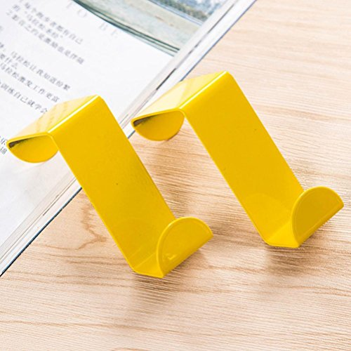 Vacally 2PC Door Hook Good Grips Stainless Steel Over-the-Door Folding Hook (Yellow) by Vacally bathroom accessories (Image #1)