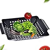 Haga BBQ Basket Barbecue Grill Pan Black Non Stick Square Barbecue Basket Tray Vegetables and Fish Grill Basket BBQ Accessories Tool Set 20cm No- Stick