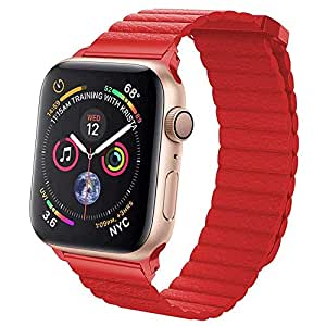 EWORLD Sport Loop Compatible with Apple Watch 38mm 40mm Leather Band with Strong Magnetive Closure, Strap Replacement for iWatch Series 4/3 / 2/1 - Red