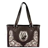 Montana West Horse Collection Dual Sided Concealed Carry Tote Bag MW389D-9220 (Coffee)