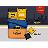 CASA Children 100% cotton series Batman duvet cover & pillow cases & Flat sheet,4 Pieces,Queen