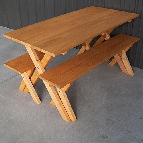 A & L Furniture Pine Cross Legged Picnic Table with Benches, Cedar Stain