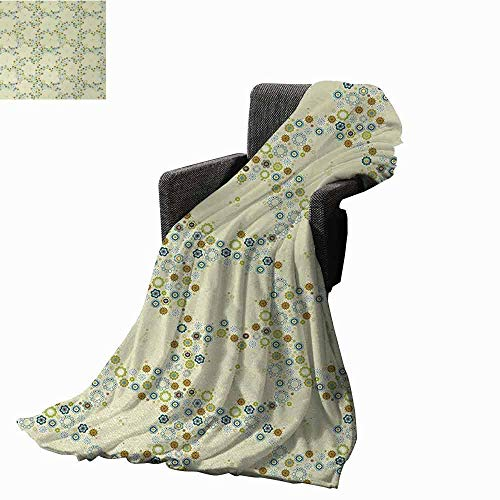 Flower Bed Blankets,Ornament of Medallion Shapes Bordered with Small Wildflowers Pattern Print Printing Throw Blanket for Living Room (62