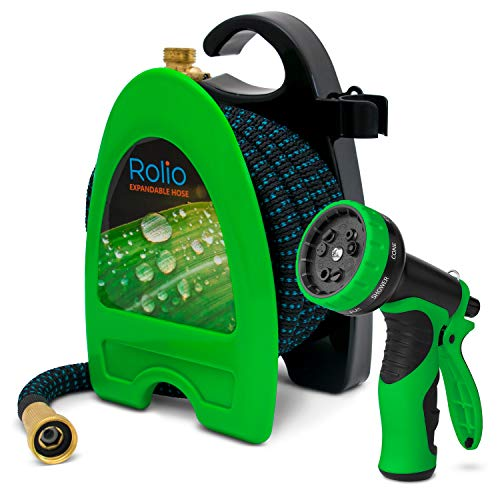 Rolio Expandable Garden Hose with Hose Reel - 50 FT Garden Hose with 9 Function Spray Nozzle Included, 3/4