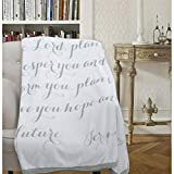 Luxuriously Soft Scripture Throw Blanket | Jeremiah 29:11 | 50x60 inches (Light Gray)