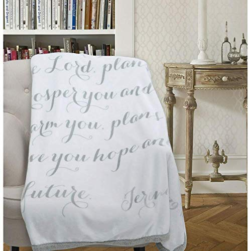 Luxuriously Soft Scripture Throw Blanket | Jeremiah 29:11 | 50x60 inches (Light Gray) by Scripture Strong