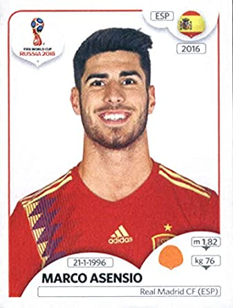 2018 panini world cup stickers russia 145 marco asensio spain soccer sticker