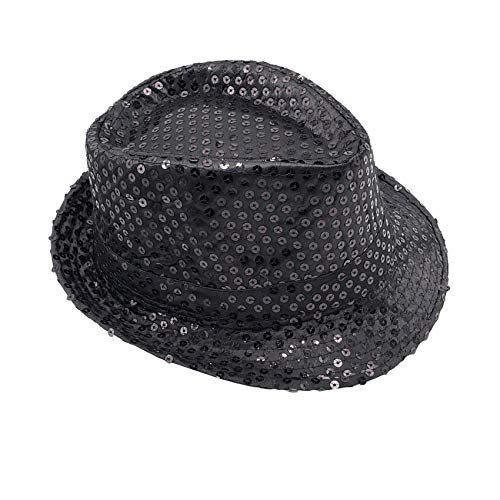 Banded Fedora HAT for Kids Trilby Gangster Panama Classic Vintage Short Brim Style (Black Sequined)
