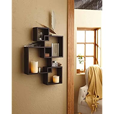 Shelving Solution Intersecting Decorative Espresso Color Wall Shelf Set of 4, 2 Candles Included