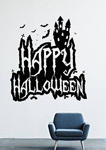 Halloween Wall Decals – Vinyl Halloween Stickers for Men Kids – Horror Stickers for Car Truck Windshield – bat Animal Flying Predator Silhouette Tree