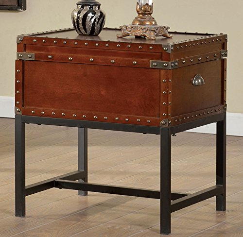 Furniture of America Cassone Contemporary Trunk Style End Table, Cherry