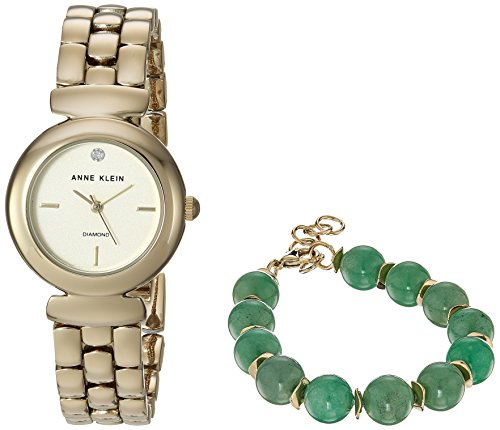 Anne Klein Women's AK/2850JADE Diamond-Accented Gold-Tone Watch and Jade Beaded Bracelet Set