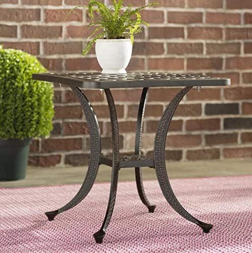 Patio Sparta Standard Square Cast Aluminum Side Table/Outdoor End Table - Best Patio Furniture