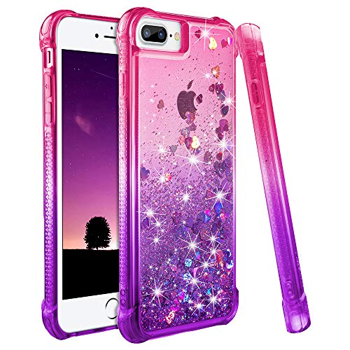 iPhone 6s Plus Case, iPhone 7 Plus 8 Plus Case, Ruky Gradient Quicksand Series Glitter Bling Liquid Floating TPU Bumper Cushion Girls Women Case for iPhone 6 Plus 6s Plus 7 Plus 8 Plus (Pink Purple) (Iphone 6 Plus Bling Phone Cases)