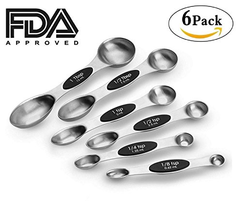 USEN Set of 6 Magnetic Measuring Spoons - Premium 18/8 Stainless Steel Double-Sided Nesting Cups for Exact Measurement of Dry & Liquid Ingredients for Cooking & Baking | Teaspoon to Tablespoon Oval Tablespoon