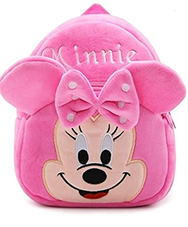 Frantic Kids Velvet Fabric School Bag (2-5 Years, Pink)