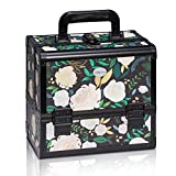 Joligrace New Arrival Makeup Box with Mirror and Brushes Holder Cosmetic Case Jewelry Organiser Light Weight Lockable with Keys (White Rose)