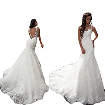 Mathena Women's Straps Backless Sweep Train Mermaid Lace Bridal Wedding Dress US 12 Ivory