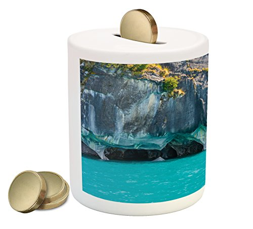 Ambesonne Turquoise Piggy Bank, Marble Caves of Lake General Carrera Chile South American Natural, Printed Ceramic Coin Bank Money Box for Cash Saving, Turquoise Purplegrey Green