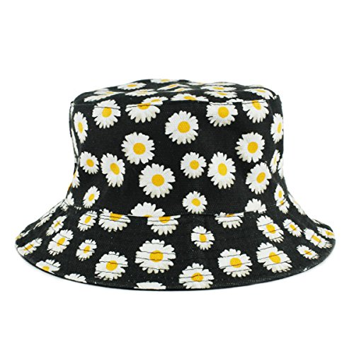UER Women Teen Fashion Hawaiian Plant Jungle Print Canvas Bucket Hat (black) ()